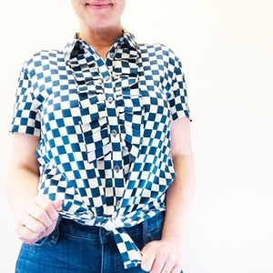 Marc by Marc Jacobs Checkered Silk Blouse